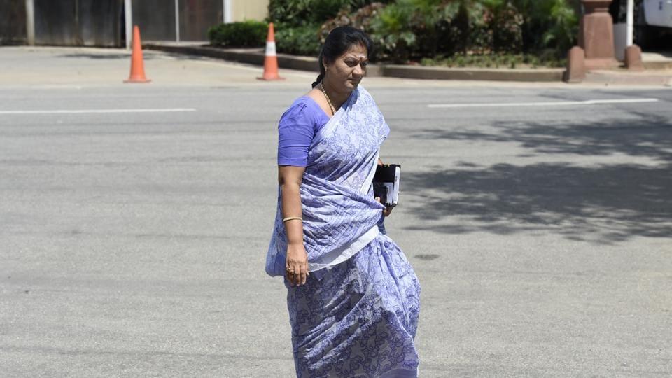 Rebel AIADMK leader Sasikala Pushpa at Parliament House in New Delhi .