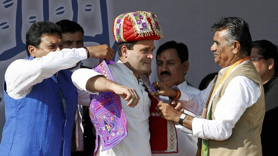Congress vice-president Rahul Gandhi at a rally in Mehsana, Gujarat, on Wednesday.