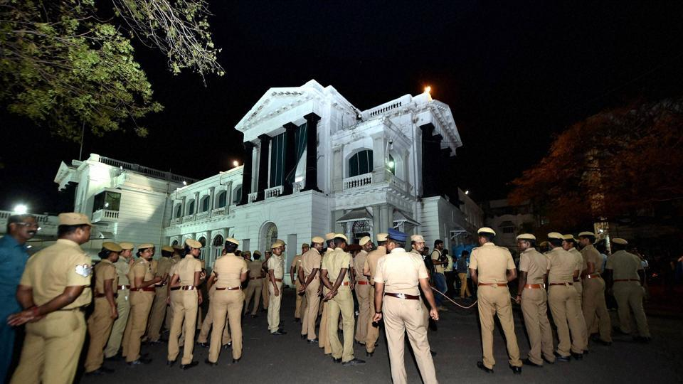 Chennai: Police Personnel stands at Tamil Nadu State