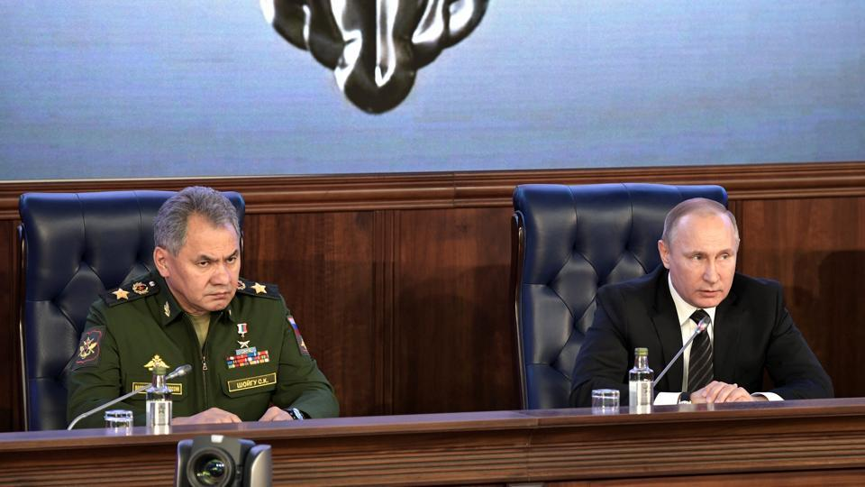 Speaking at a gathering of top military officials that appeared designed to showcase Russia's military achievements, Shoigu said Moscow's intervention had prevented the collapse of the Syrian state