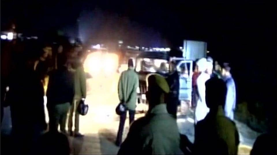 Police cordon off the location where a Rajasthan ATScop was found dead in a SUV along with a woman he is believed to have killed, on Thursday night in Jaipur.