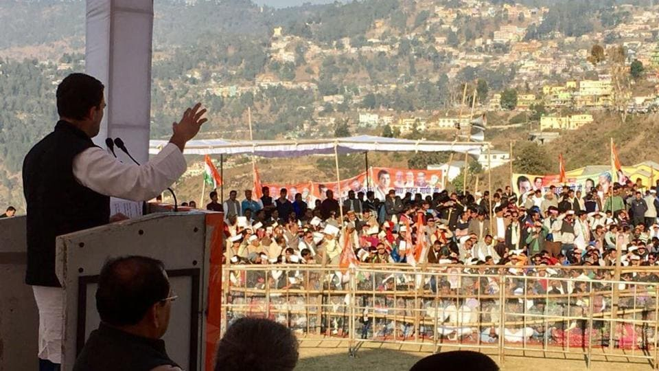 Congress VP Rahul Gandhi addresses a rally in Uttarakhand on Friday.
