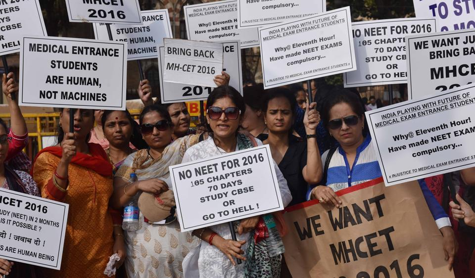 Parents protesting against the implementation of NEET earlier this year.