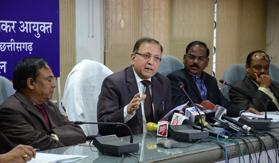 Principal chief commissioner of I-T for MP and Chhattisgarh, Abrar Ahmad, addresses a press meet in Bhopal.