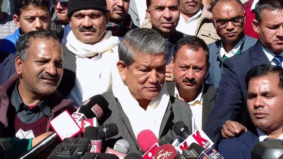Uttarakhand chief minister Harish Rawat addresses media at Bhararisain in Chamoli district.