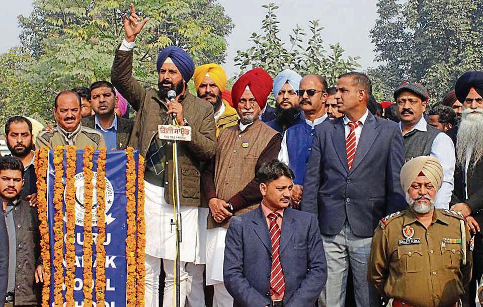 Punjab revenue minister Bikram Singh Majithia addressing a gathering during the inauguration of the new subdivision complex at Majitha in Amritsar on Friday.