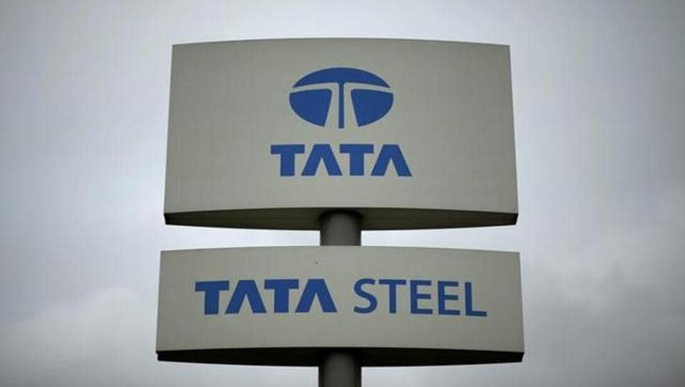 A Tata Steel sign is seen outside their plant in northern England.