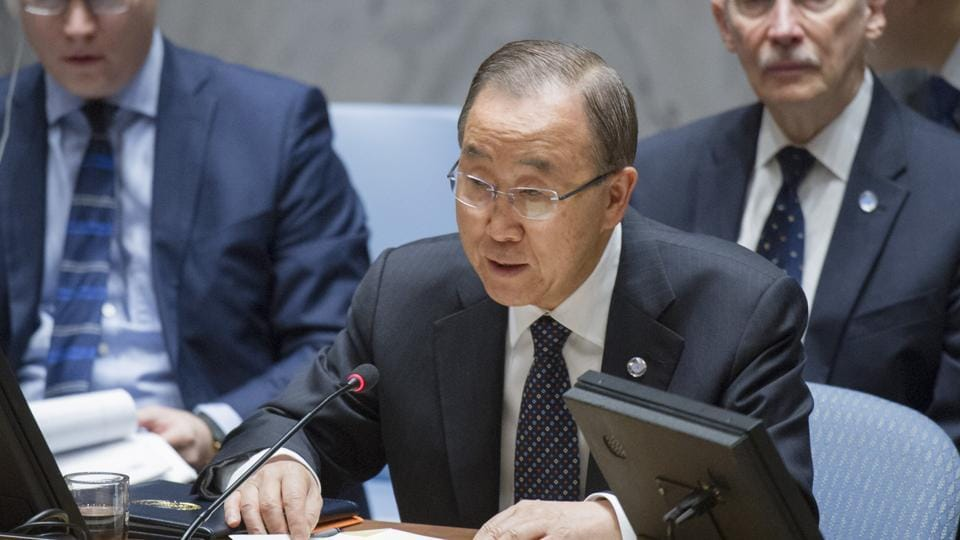 In this November 30, 2016 photo, UN secretary general Ban Ki-moon speaks during a Security Council meeting at UN headquarters.