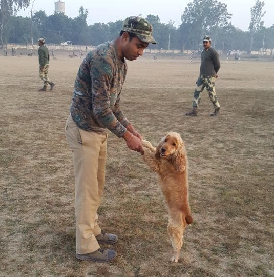 Gautam Chakravarti and spaniel Caesar, who will soon join guard the CM of West Bengal. Caesar is agile and a good sniffer, but she sure takes longer to groom than short-haired dogs, he says.  (Rachel Lopez  / ht photos )