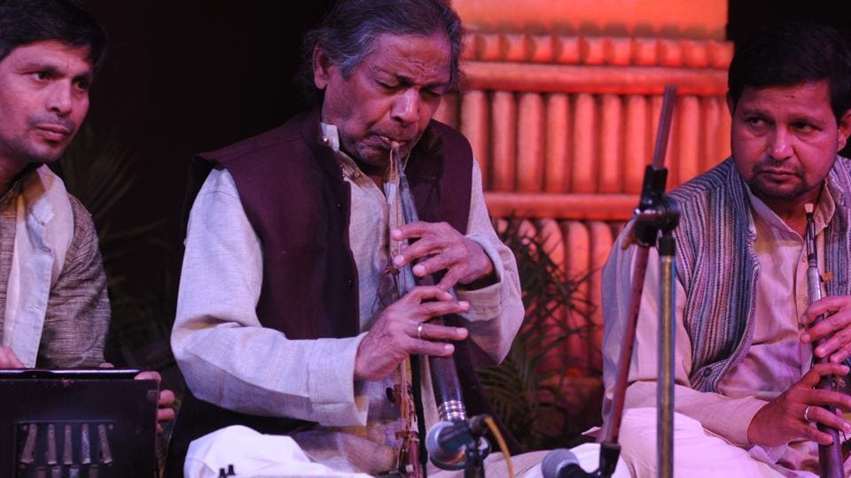 Krishna Ram Chaudhary performing during the 141st Harivallabh Sangeet Sammelan in Jalandhar on Friday.