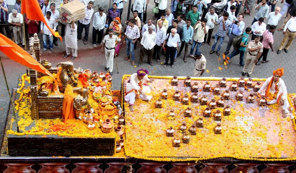 Water and soil collected from all over Maharashtra were taken to the Gateway of India for the bhoomipujan ceremony of the Shivaji memorial  to be held on Saturday.