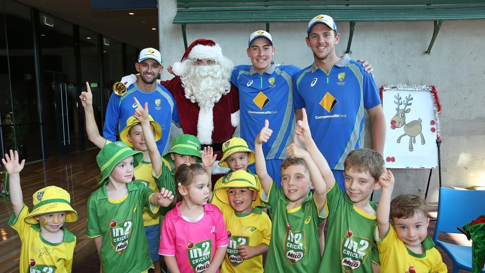 Nathan Lyon, Josh Hazelwood and Matt Renshaw  celebrating Christmas Eve at the Melbourne Cricket Ground. (Cricket Australia/Getty Images)