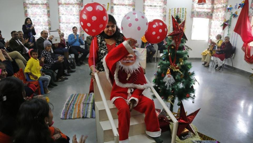 Christmas show presented by Hearing impaired children and children of leprosy patients at Lepra India Trust school, Jasola Vihar in New Delhi, India, on Friday, December 23, 2016.