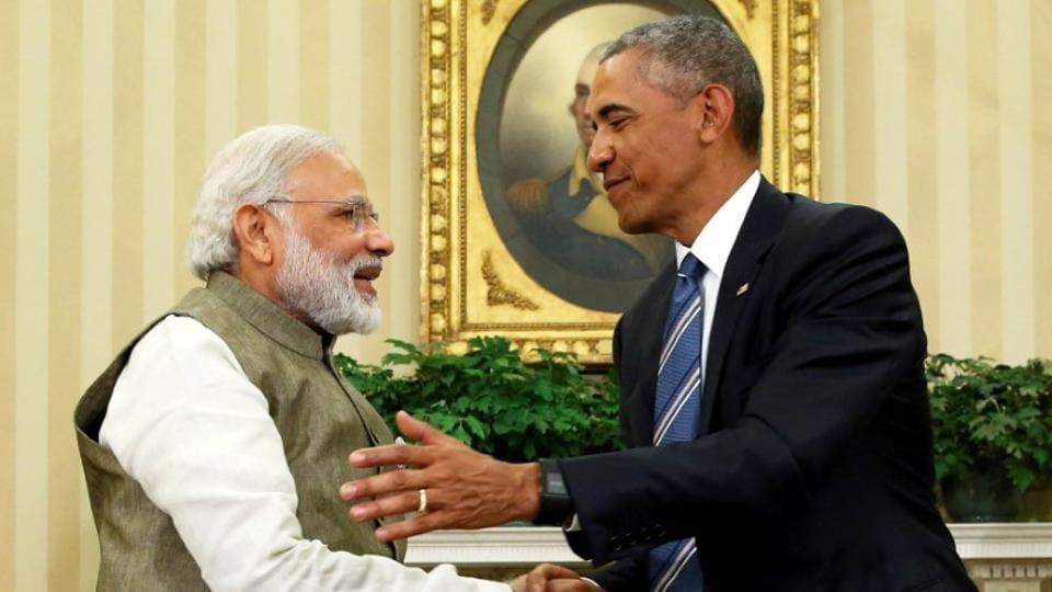 US President Barack Obama shakes hands with Prime Minister Narendra Modi after their remarks to reporters following a meeting in the Oval Office at the White House in Washington