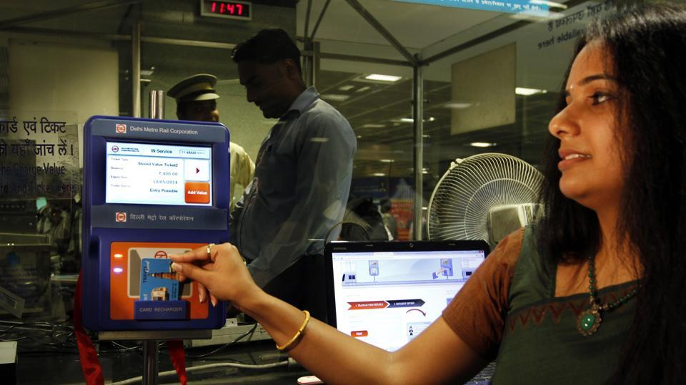 Image result for images of Metro commuters can soon recharge smart card at various places in city