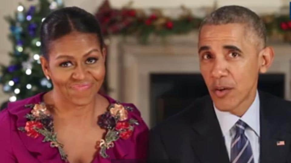 The Obamas appeared jovial in their greeting, showing a flashback to the filming of their first Christmas message in 2009, when the president couldn't stop giggling.