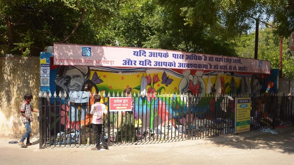 Four colourful walls of kindness have come up in the small textile town of Bhilwara in Rajasthan within a few months.