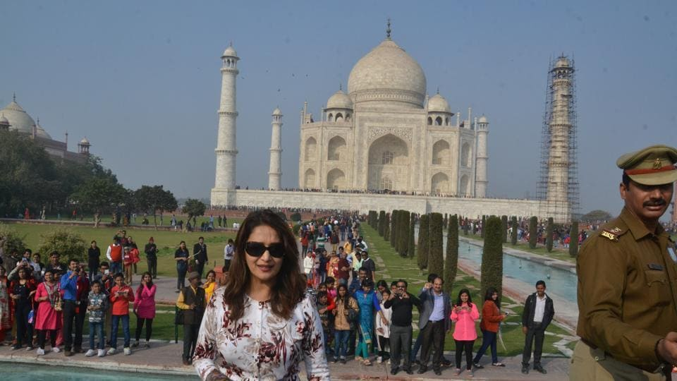 Madhuri Dixit  visits Taj Mahal in Agra on Sunday.