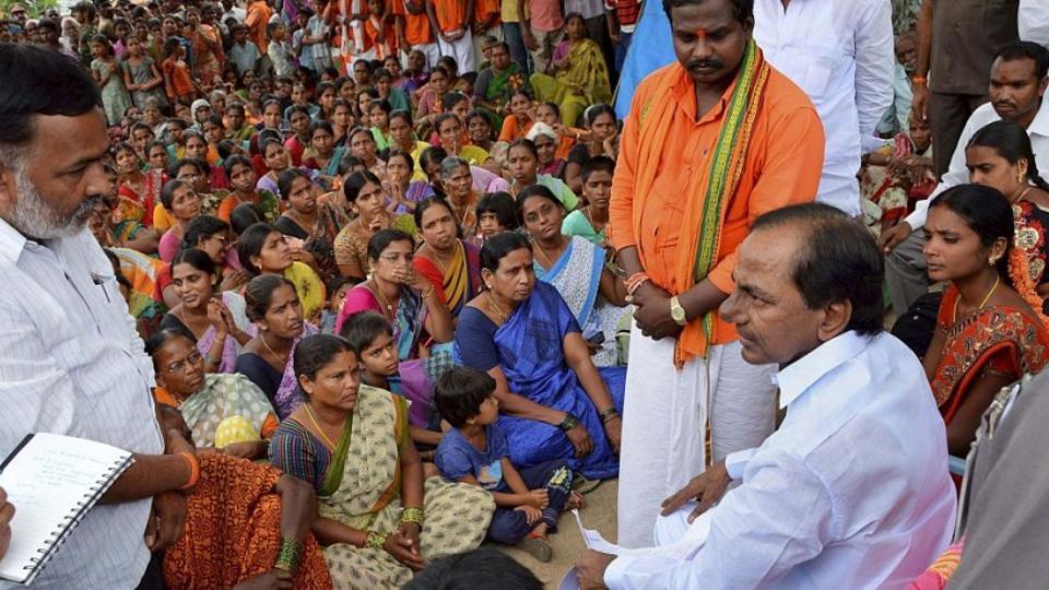 Telangana Chief Minister K Chandrashekhar Rao (KCR)at a Grama Sabha at Wargal in Medak district of the state.