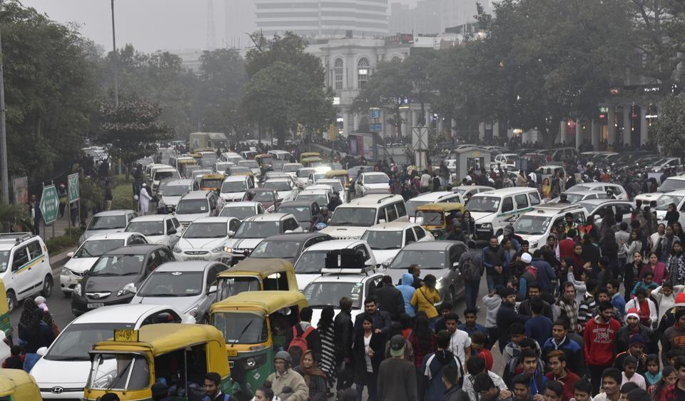 The Connaught Place choked with vehicles on Sunday on the occasion of Christmas. Several arterial roads in Delhi reported traffic jams on Sunday.