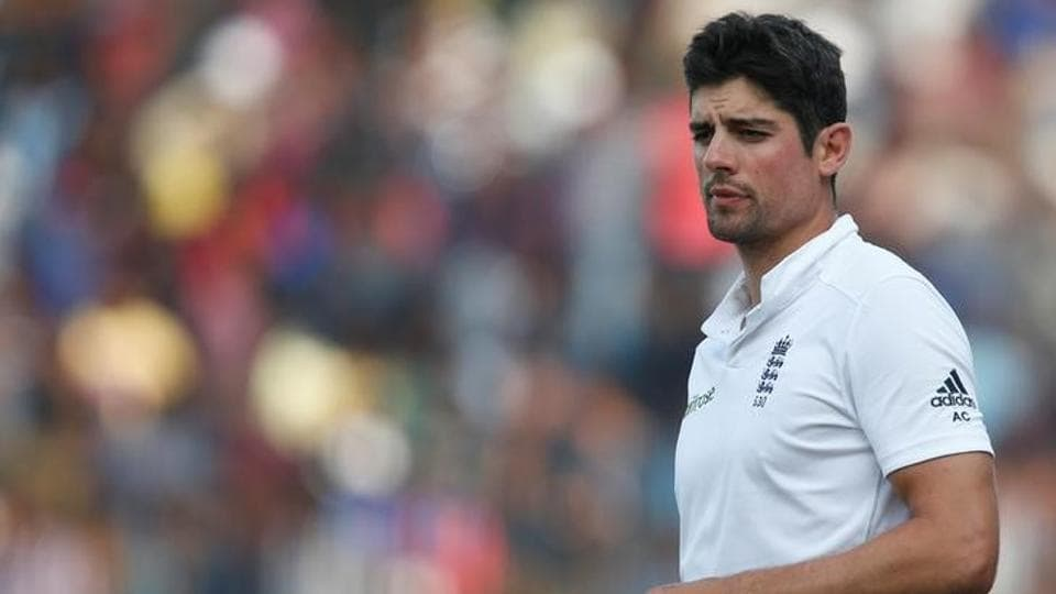 England's captain Alastair Cook stands in field after losing the test series against India.