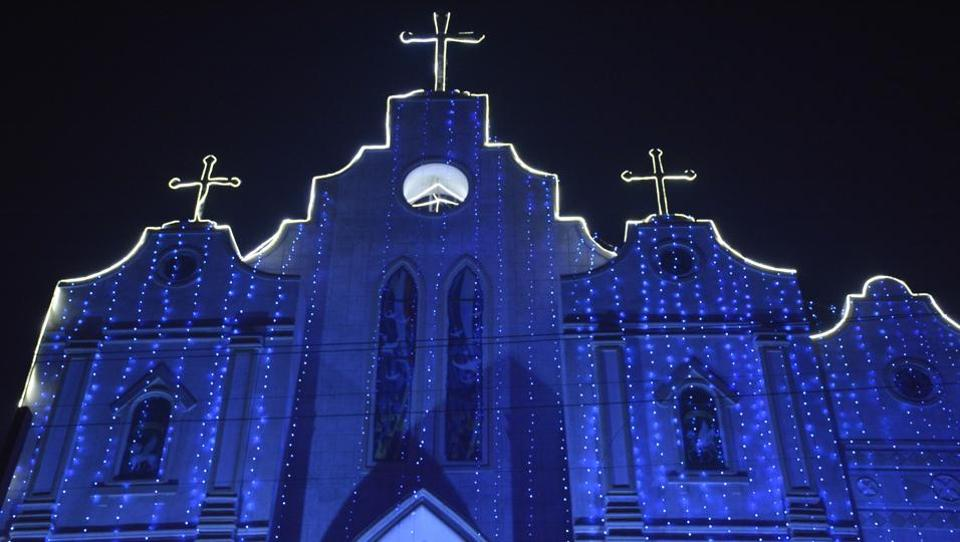 Mariam Nagar Nandgram Churches are decked with lights and a star in order to welcome the festival with Christmas cheer  in Ghaziabad. (Sakib Ali/HT Photo)