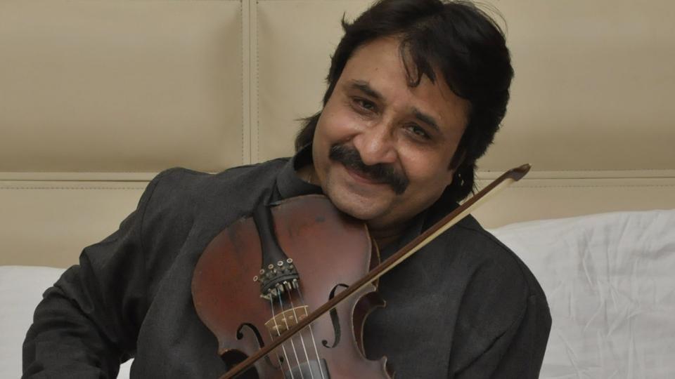 Violinist Sansosh Nahar violinist posing for a click in Jalandhar on Saturday.