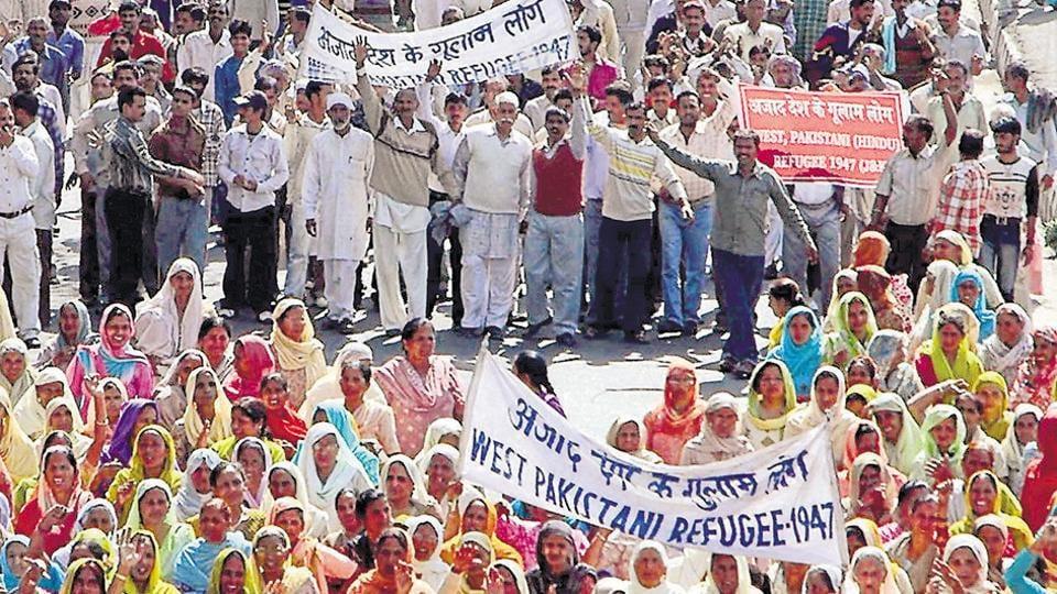 West Pakistani Refugees shouting slogans, in Jammu.