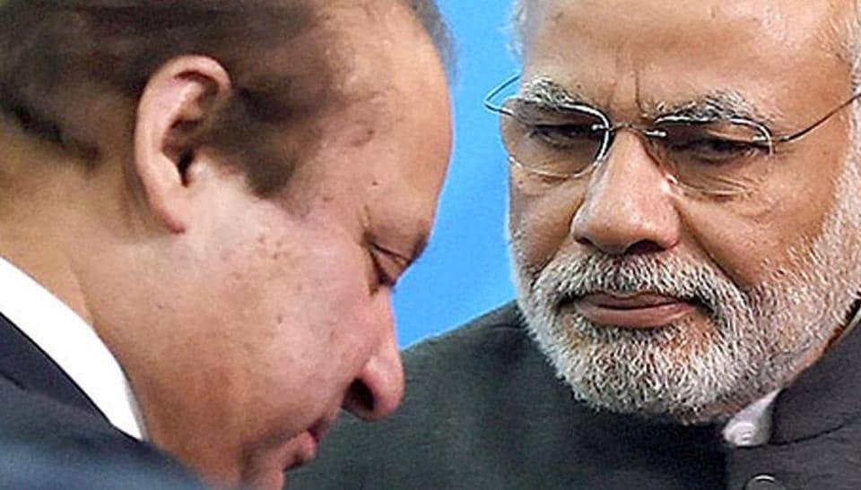 Prime Minister Narendra Modi with Pakistani Prime Minister Nawaz Sharif at the Shanghai Cooperation Organization summit in Ufa, Russia.
