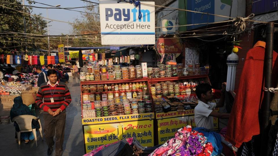 A Paytm signboard can be seen near the shop of a bangle seller. Mobile walets such as Paytm allowing cashless transactions have witnessed a surge in business after the government's note ban exercise.