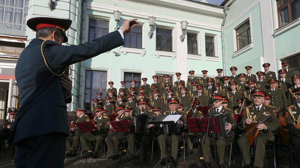 Singers and orchestra members of Red Army Choir, also known as the Alexandrov Ensemble, perform in Moscow, Russia April 20, 2016.