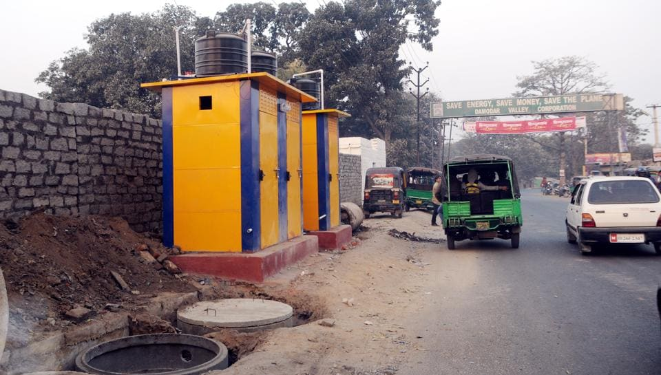 Newly constructed public toilets  by the Ranchi Municipal Corporation on a  footpath near Kanta Toli Chowk in Ranchi.