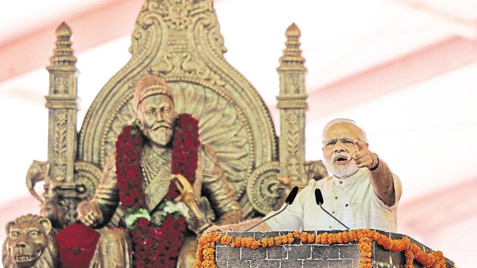 PM Modi speaks after laying the foundation for the memorial of Chhatrapati Shivaji Maharaj, in Mumbai.