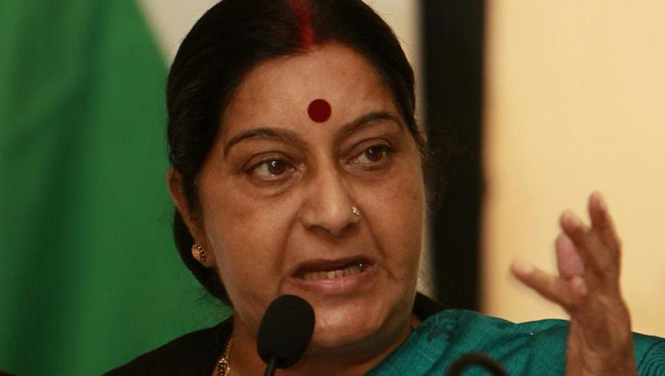 External affairs minister Sushma Swaraj speaks during a press conference in Colombo.