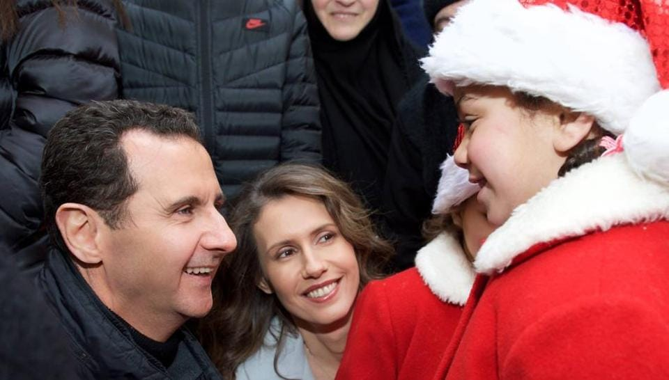 The Syrian President, along with his wife,  an orphanage in Abbey on Sunday.