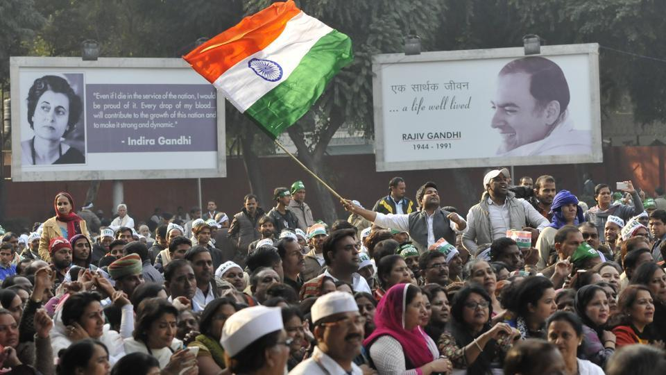 In this December 2015 photo, Congress supporters can be seen at the AICC headquarters to support party vice-president Rahul Gandh and party president Sonia Gandhi ahead of a hearing in the National Herald case at Patiala House court.