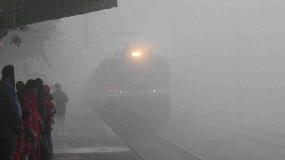 Ten trains were late by more than half an hour due to foggy weather.