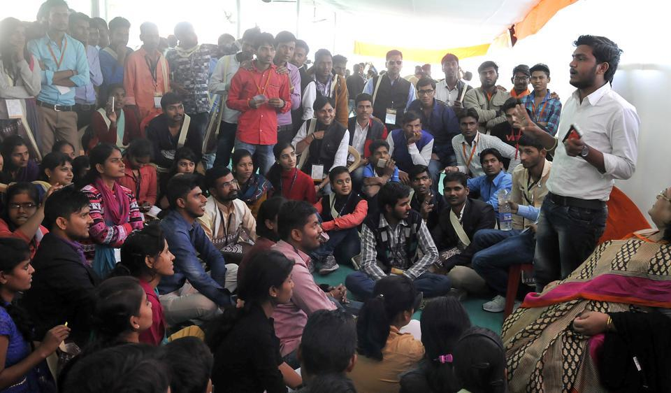 Students listen to a fellow participant at the ABVP's conference in Indore on Sunday.