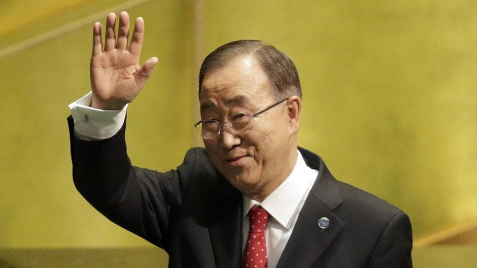 United Nations secretary-general Ban Ki-moon waves after speaking at the swearing-in ceremony for his successor, Antonio Guterres, at UN headquarters.
