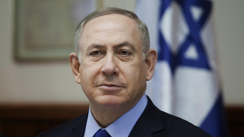 Israeli Prime Minister Benjamin Netanyahu attends a weekly cabinet meeting in Jerusalem.