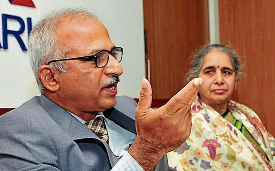 Rajender Kumar,n chief commissioner of Income Tax department, during a press conference in Chandigarh on Monday.