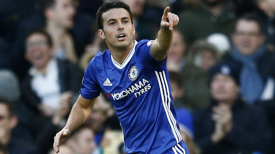 Chelsea's Pedro celebrates after scoring in Chelsea's 3-0 win vs Bournemouth. It was Chelsea's record straight 12th Premier League win