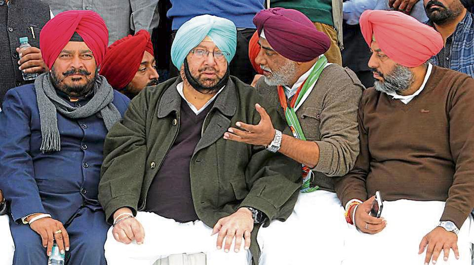 (From left) Nabha MLA Sadhu Singh Dharamsot, Punjab Congress chief Capt Amarinder Singh, legislators Kaka Randeep Singh (Amloh)and Gurkirat Singh Kotli (Khanna)at the mela in Fatehgarh Sahib on Monday.