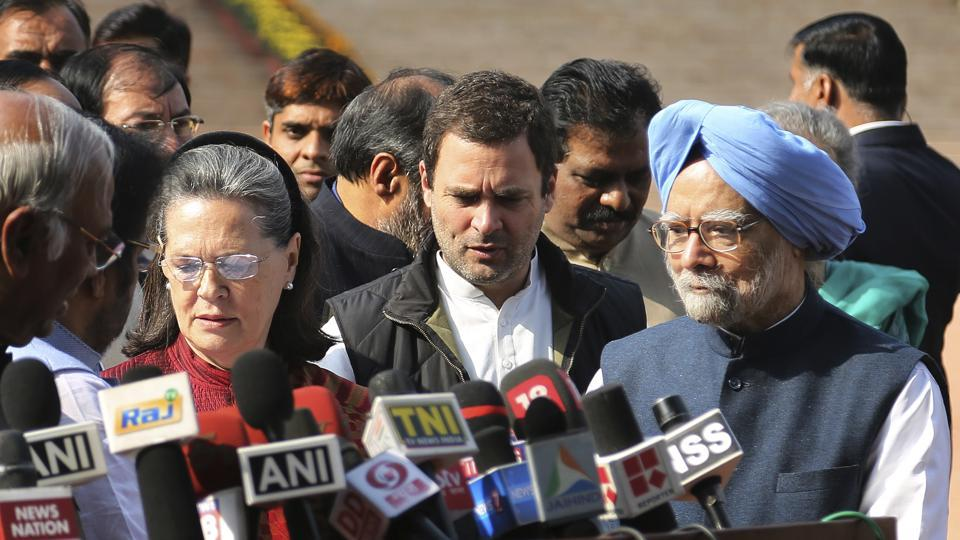 Congress party president Sonia Gandhi, left, vice-president Rahul Gandhi, center, and former Prime Minister Manmohan Singh, right, join lawmakers from opposition parties to brief media after meeting President Pranab Mukherjee to lodge their protest against the uncertainty prevailing after the government demonetising high-value bills, in New Delhi on December 16.