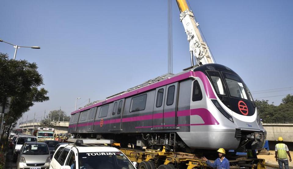 DMRC lowered a six-coach train near the Sadar Bazar Cantt Station to expedite trail runs on Magenta line.
