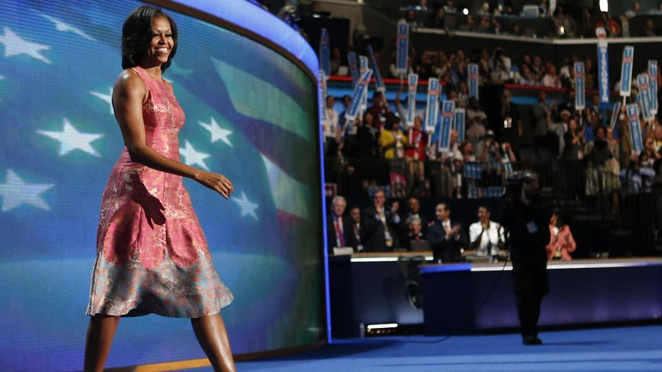 First lady Michelle Obama walks on the stage at the Democratic National Convention in Charlotte.