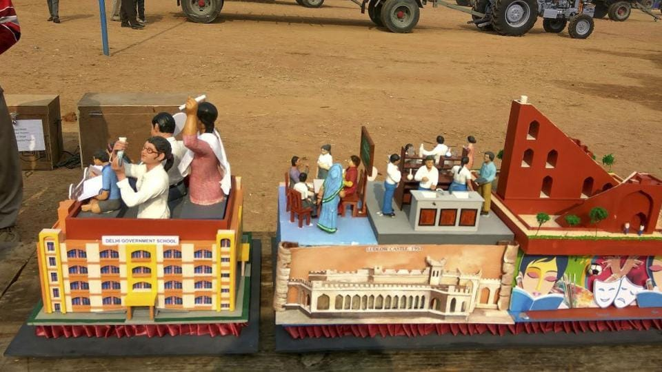 A miniature of the Delhi tableau for 68th Republic Day parade.