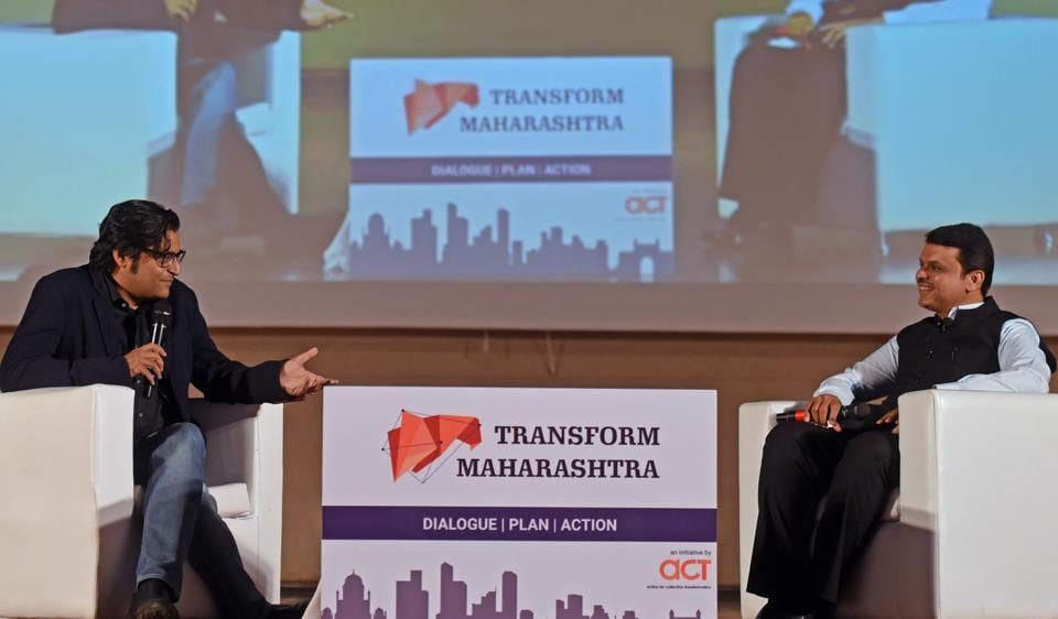 Maharashtra chief minister Devendra Fadnavis and journalist Arnab Goswami at IIT-B on Monday.