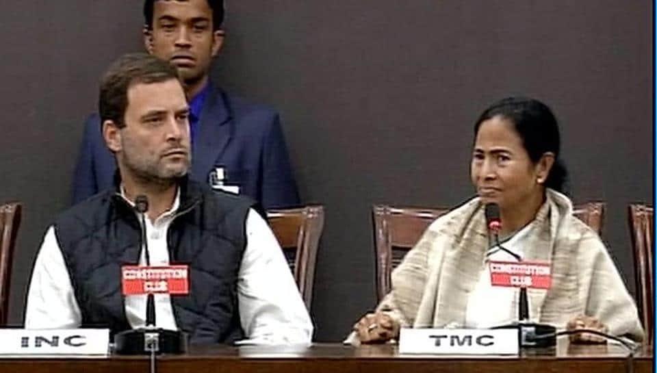 Congress's Rahul Gandhi and Trinamool Congress's Mamata Banerjee at a press conference in Delhi on Tuesday.