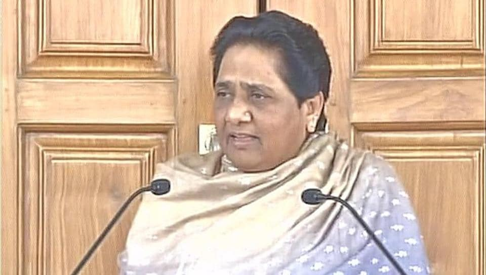 BSP supremo Mayawati addresses a press conference at the party office in Lucknow on Tuesday.